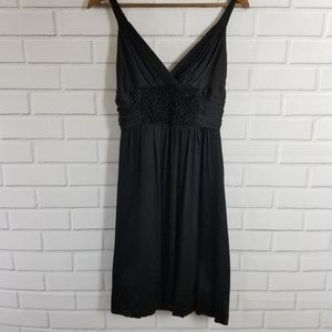 BCBGMAXAZRIA Black Roses Bubble Hem Silk Dress